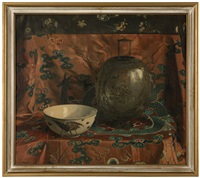 still life with a chinese enamelled glass lantern and a ceramic bowl against a silk brocade backdrop by julius moessel