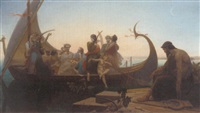 greek mythological figures on a boat near a pier by louis marie baader