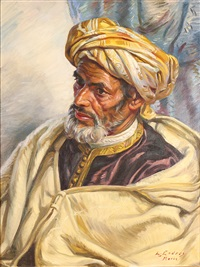 portrait of moroccan man by louis john endres