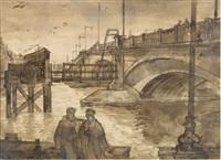 chelsea bridge from the embankment cheyne walk by john minton