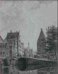 the grimnesserluis, amsterdam, seen from the rokin, with  the zuiderkerk in the distance by gerrit hulseboom
