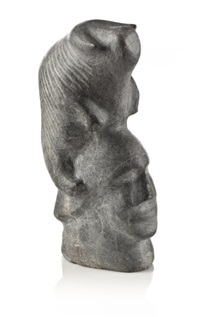 musk-ox atop a human head by barnabus arnasungaaq