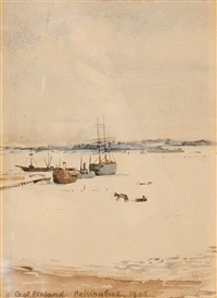 harbour in winter by hugo simberg