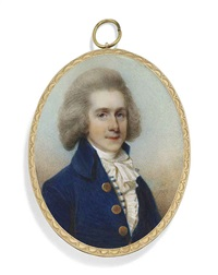 a young gentleman, in blue coat with brass buttons, blue and white striped waistcoat, frilled white cravat with pleated jabot, grey-powdered wig, sky background by horace hone