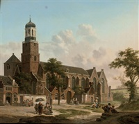 townspeople near the nicolaïkerk, utrecht by jan hendrik verheyen
