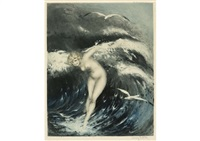venus in the waves (dark blue) by louis icart