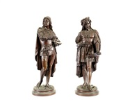 figures of renaissance artists (pair) by léon pilet