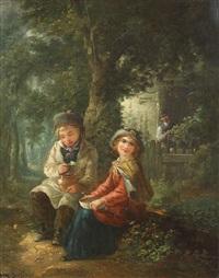couple d'enfants mangeant devant une ferme dans la forêt by paul constant soyer