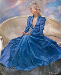 elégante à la robe bleue by fabien fabiano