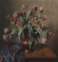still life with flowers in a vase by wilhelm andersen