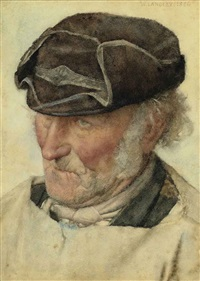 man's head (preparatory study for the sunny south) by walter langley
