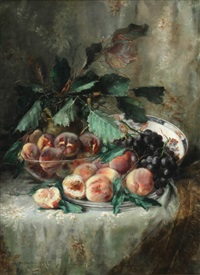 cloth table top still life of peaches and grapes by berthe vermorcken