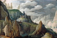 an extensive mountainous landscape with two figures crossing a bridge, a castle beyond by tobias verhaecht