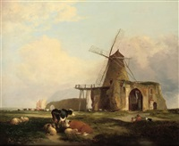 view of st. benet's abbey, norfolk, with figures, cattle and sheep in the foreground by miles edmund cotman