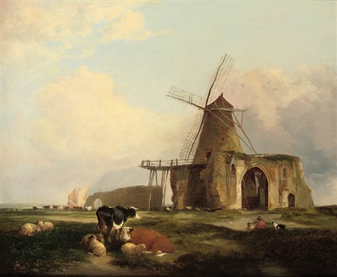 view of st benets abbey norfolk with figures cattle and sheep in the foreground by miles edmund cotman
