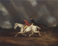 figures riding in a storm by byron webb