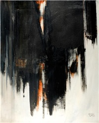 abstract composition in black and red by avshalom okashi