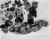 nature morte aux vases de fleurs et plat de fruits by valentine synave nicolaud (fray) val
