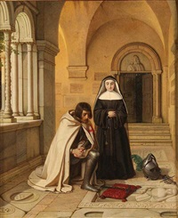 crusader praying at an abby grave by wilhelm (guillaume) koller