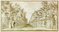 view of a formal garden with an avenue, and a couple playing with a dog by jan arends