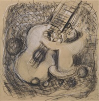still life with guitar and fruit in a bowl by jacques lipchitz