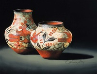 zia vase and jar by patricia dobson