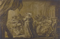 an interior scene with elegant figures playing music by adriaen pietersz van de venne