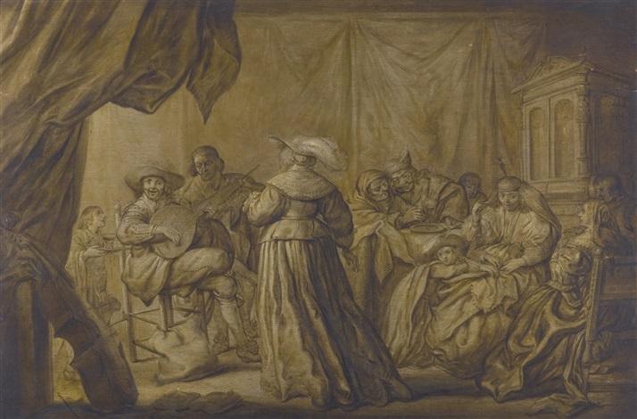 an interior scene with elegant figures playing music by adriaen pietersz van de venne