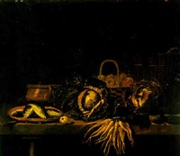 a still life of fish and vegetables on a table by hubert van ravesteyn