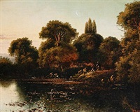 a lake scene at sunset by edwin henry boddington