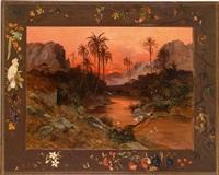 tropische landschaft mit kranichen by paul reiffenstein