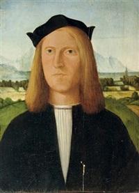 portrait of a young gentleman in a black costume and white chemise with a black cap, a mountainous river landscape beyond by giovanni battista cima da conegliano