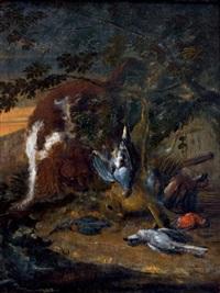 chien gardant le gibier devant un paysage by adriaen de gryef