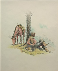 cowboy leaning against a tree by joe rader roberts