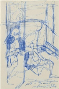 eva in museum of modern art lobby (from the series sick drawings by a sick person!) by eva hesse