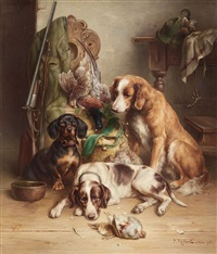 three dogs after the hunt by carl reichert