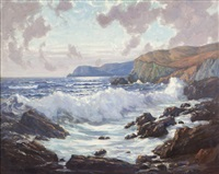 crashing waves on a rocky coastline by charles l.a. smith