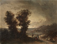 landscape with travellers by jean-charles (col.) langlois