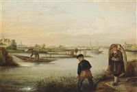 a river landscape with fishermen at work, emptying their nets by arent (cabel) arentsz