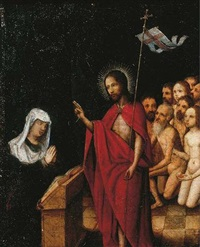 christ in limbo blessing the virgin by jan (joannes sinapius) mostaert
