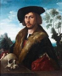 portrait d'homme en buste la main posée sur un crâne devant un paysage by dirck jacobsz