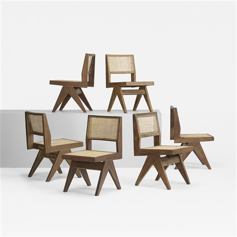 set of six dining chairs from chandigarh set of 6 by pierre jeanneret