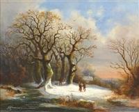 paisaje nevado con personajes by frederik marinus kruseman