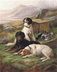 gundogs with the days bag by john charles morris