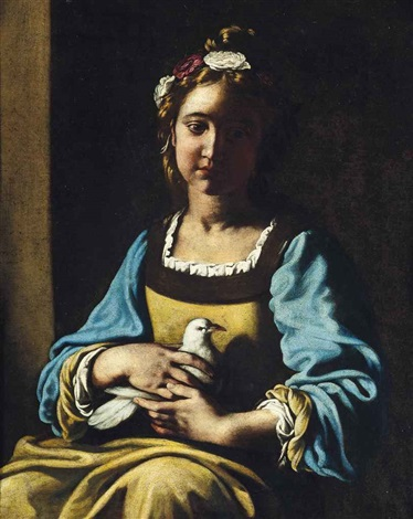 portrait of a girl half length in a green dress with blue sleeves and a garland of flowers in her hair holding a dove in her lap by antiveduto grammatica