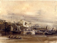 embarquement des chiliens en callao, le 19 9bre 1839 (+ rivière de guayaquil, 1840, pencil and wash htnd with gum arabic, smaller, sgd & insc.; 2 works) by theodore-auguste (admiral) fisquet