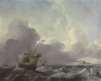 dutch man-of-war in stormy waters by aernout (johann arnold) smit