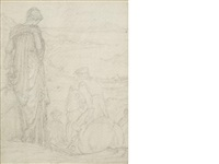 a lady bidding farewell (+ a small landscape, smllr; 2 studies framed as one) by edward burne-jones