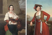 a neapolitan beauty (+ an italian beauty at the well, 1844; pair) by attilio baccani