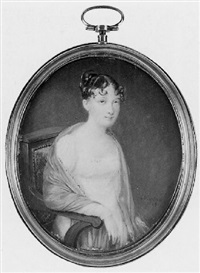 a lady (wife of la marechale regnaults de st. jean d'angely?) seated, in white dress with lace trim by ferdinand machera